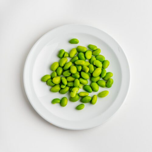 Edamame with olive oil, lemon juice, garlic and coarse salt