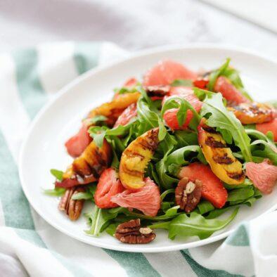 Swiss chard and peach salad