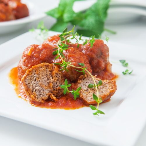 "Vegan spaghetti and ""meat"" balls"
